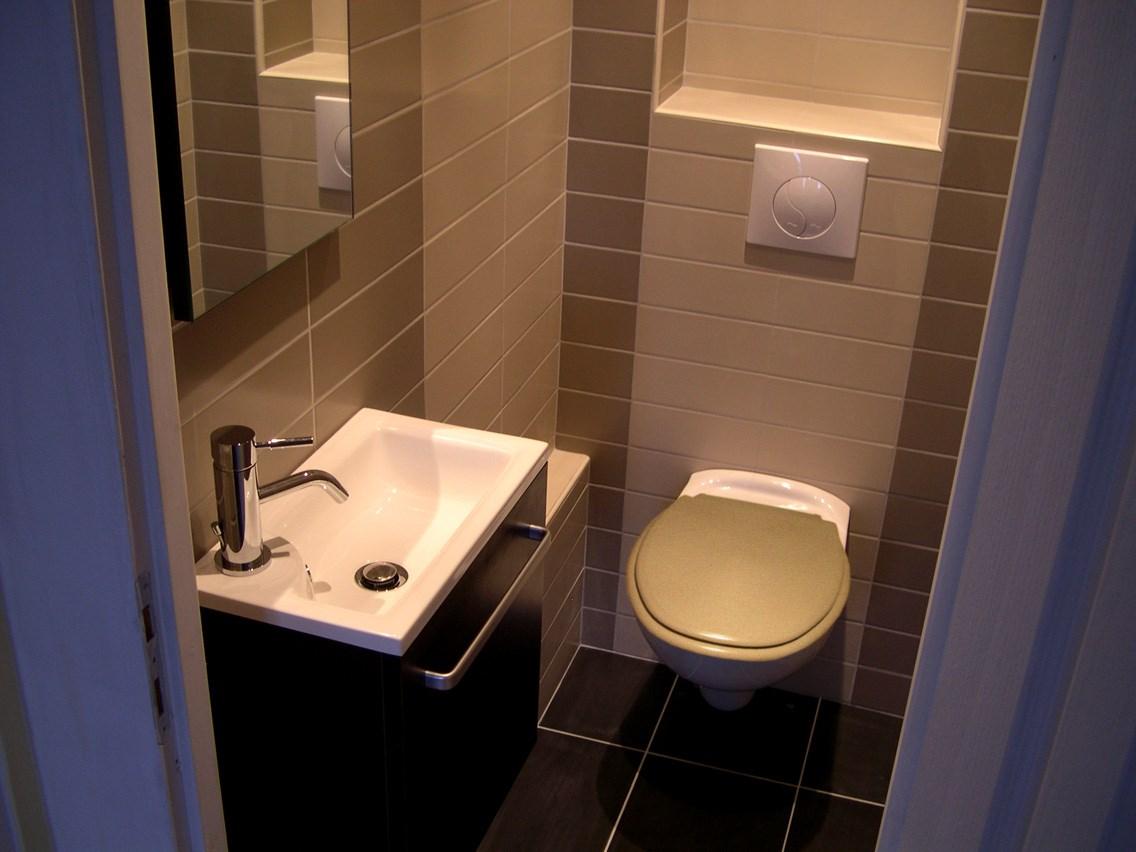 Espace wc lave mains et wc supendu carrelage sol et mur - Carrelage pour wc ...